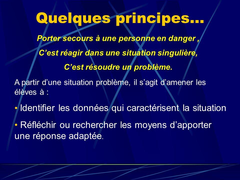 Quelques principes… Porter secours à une personne en danger , C'est réagir dans une situation singulière,
