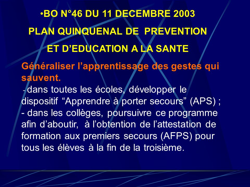 PLAN QUINQUENAL DE PREVENTION ET D'EDUCATION A LA SANTE