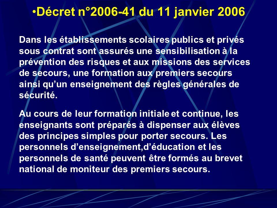 Décret n°2006-41 du 11 janvier 2006