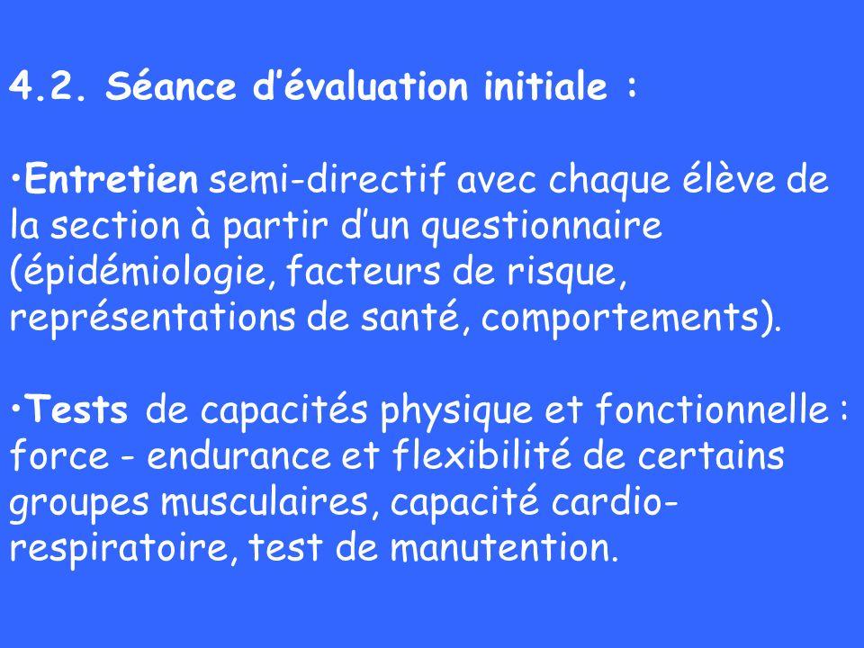 4.2. Séance d'évaluation initiale :