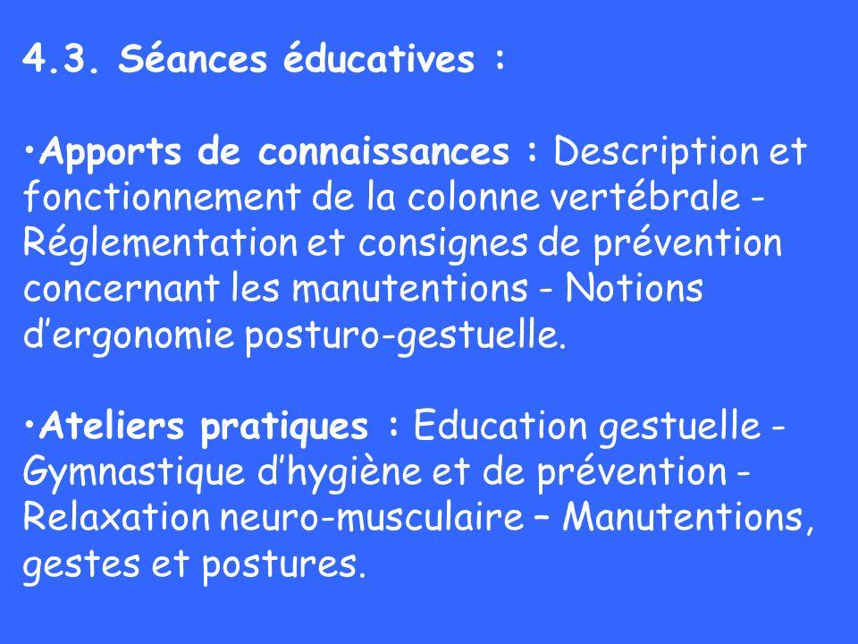 4.3. Séances éducatives :