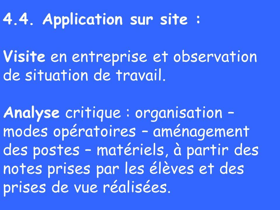 4.4. Application sur site : Visite en entreprise et observation de situation de travail.