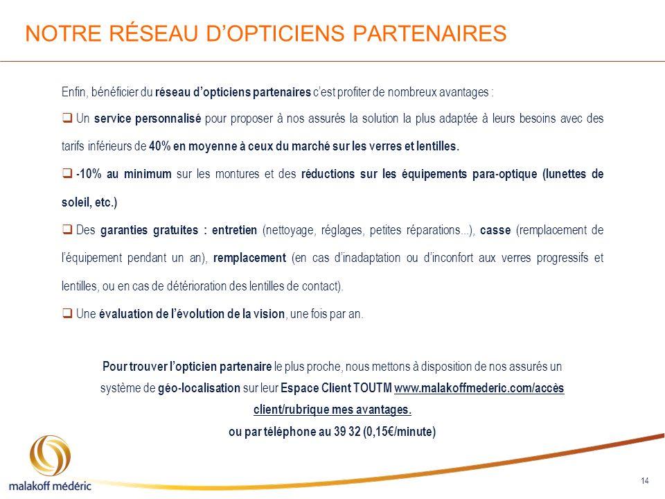 NOTRE RÉSEAU D'OPTICIENS PARTENAIRES