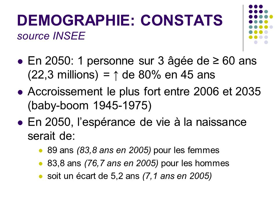 DEMOGRAPHIE: CONSTATS source INSEE