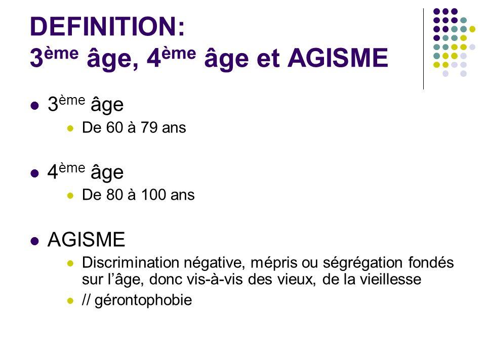 DEFINITION: 3ème âge, 4ème âge et AGISME