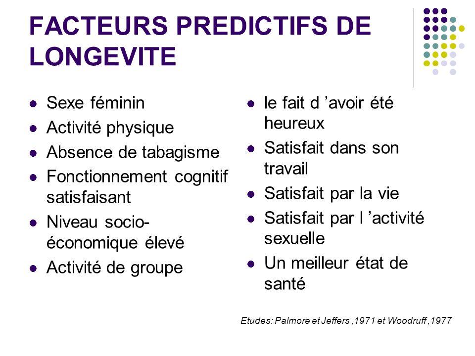 FACTEURS PREDICTIFS DE LONGEVITE