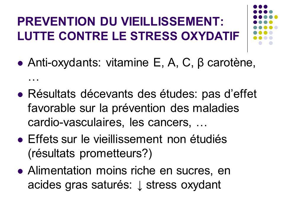 PREVENTION DU VIEILLISSEMENT: LUTTE CONTRE LE STRESS OXYDATIF