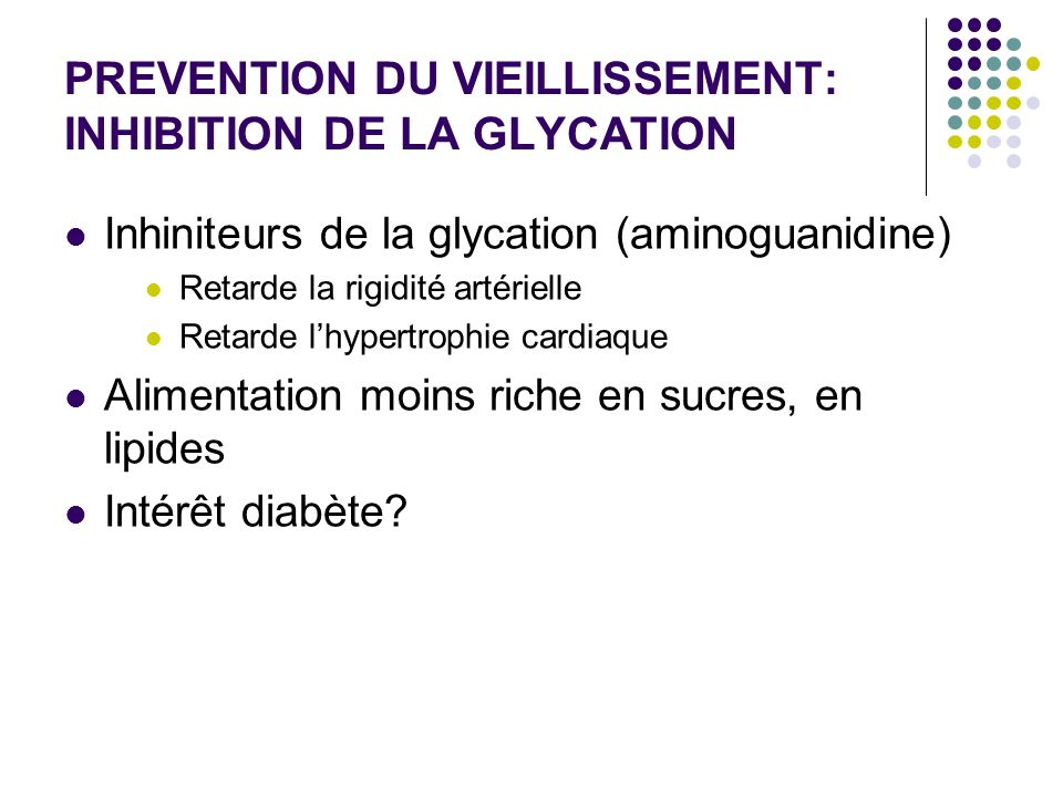 PREVENTION DU VIEILLISSEMENT: INHIBITION DE LA GLYCATION