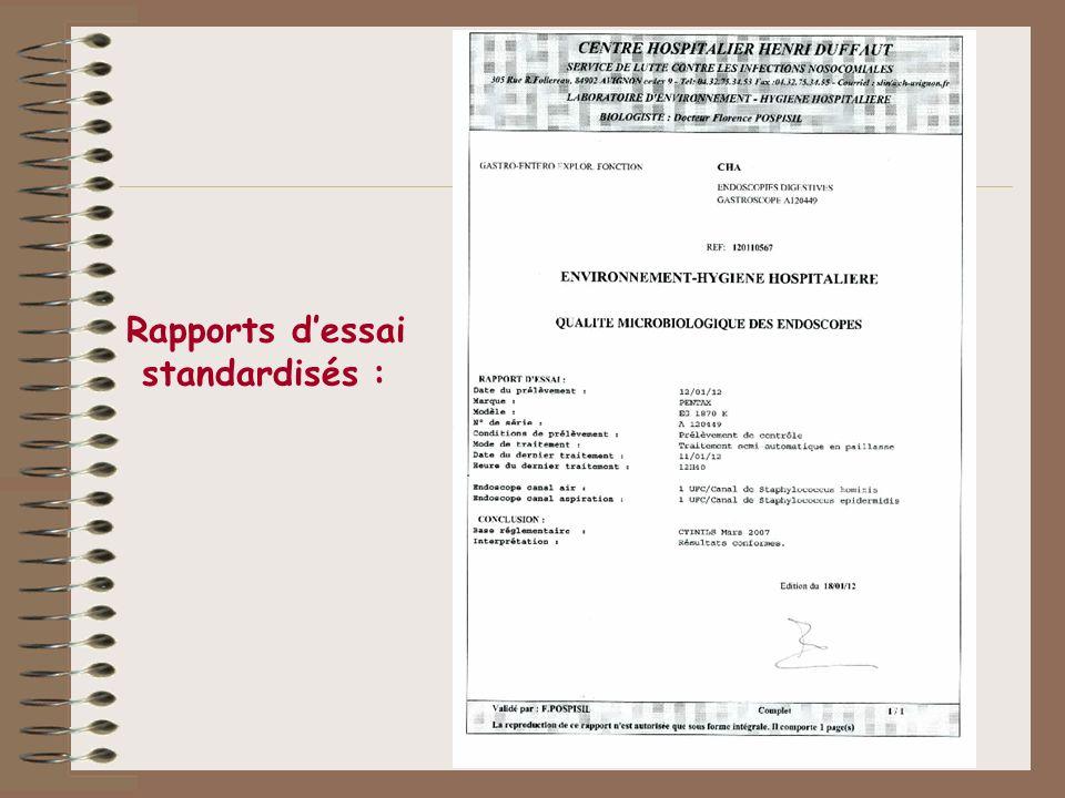Rapports d'essai standardisés :