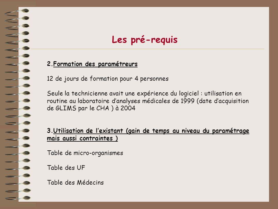 Les pré-requis Formation des paramétreurs