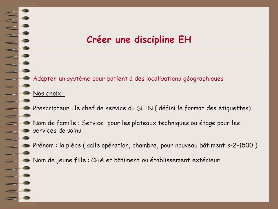 Créer une discipline EH