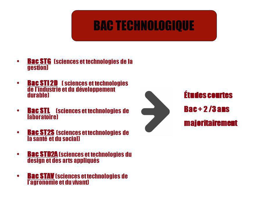 BAC TECHNOLOGIQUE Études courtes Bac + 2 /3 ans majoritairement