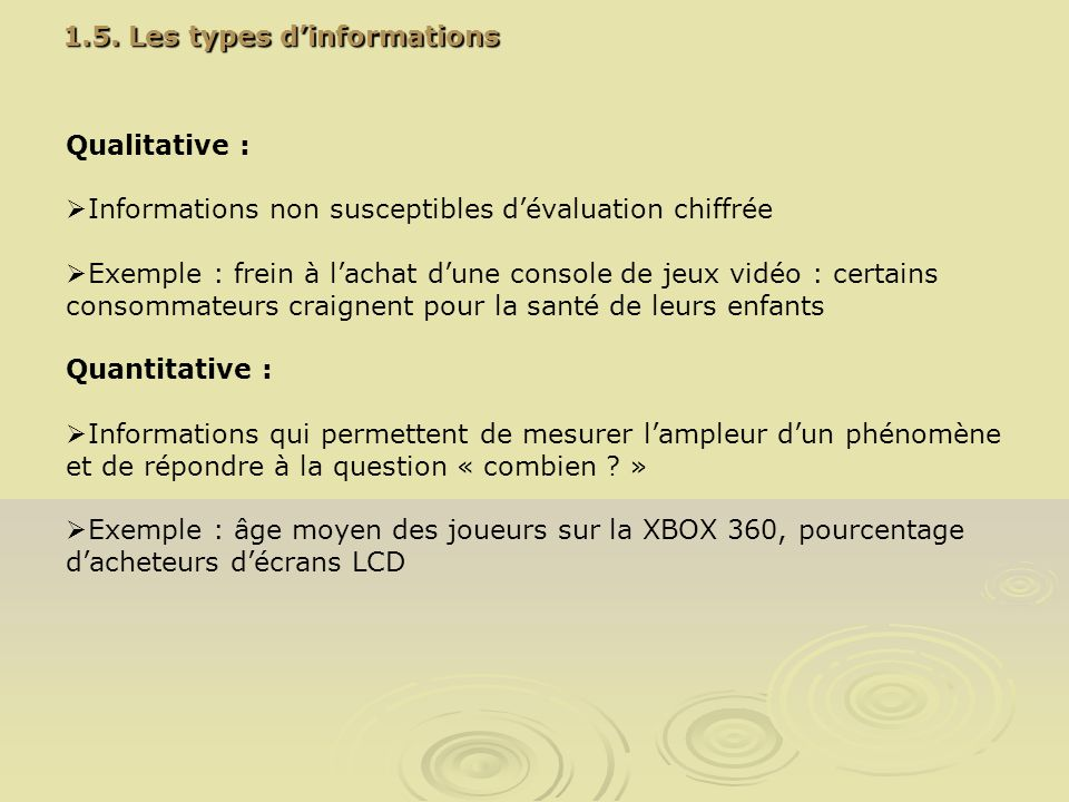 1.5. Les types d'informations