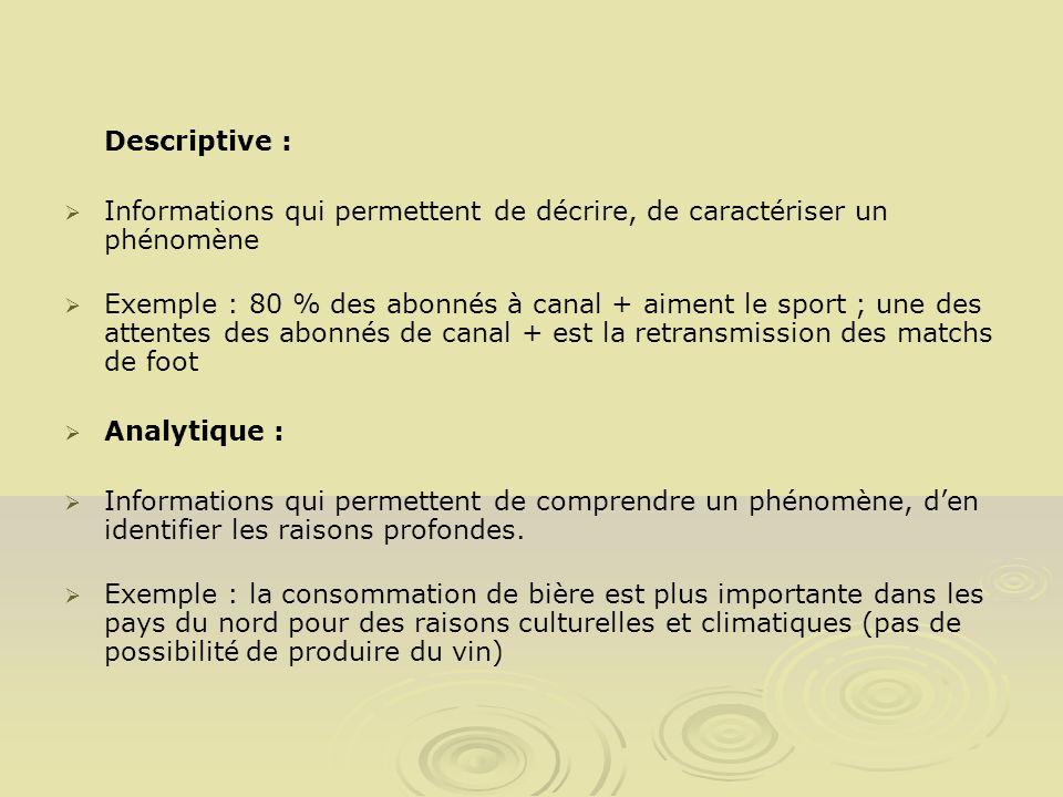 Descriptive :Informations qui permettent de décrire, de caractériser un phénomène.