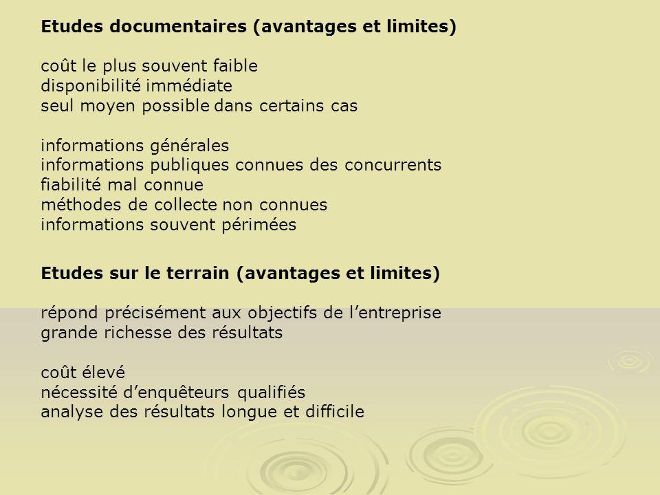 Etudes documentaires (avantages et limites)
