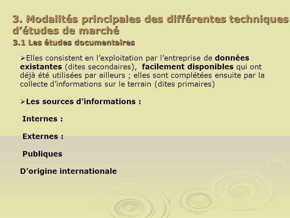 3. Modalités principales des différentes techniques d'études de marché