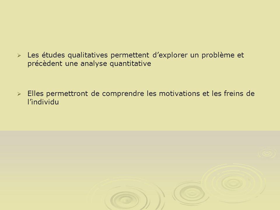 Les études qualitatives permettent d'explorer un problème et précèdent une analyse quantitative