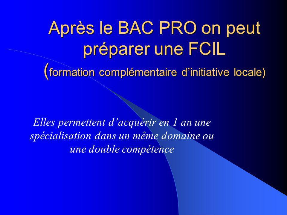 Après le BAC PRO on peut préparer une FCIL (formation complémentaire d'initiative locale)
