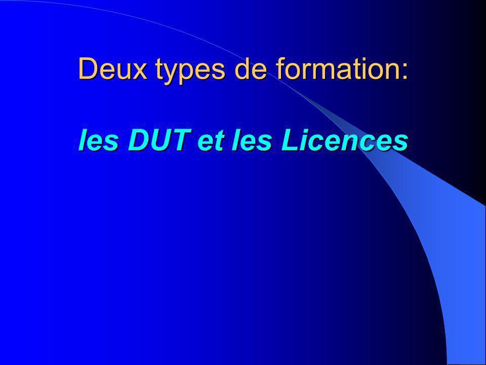 Deux types de formation: les DUT et les Licences