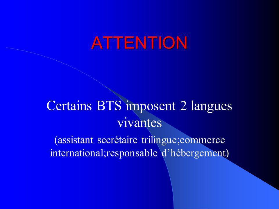 Certains BTS imposent 2 langues vivantes