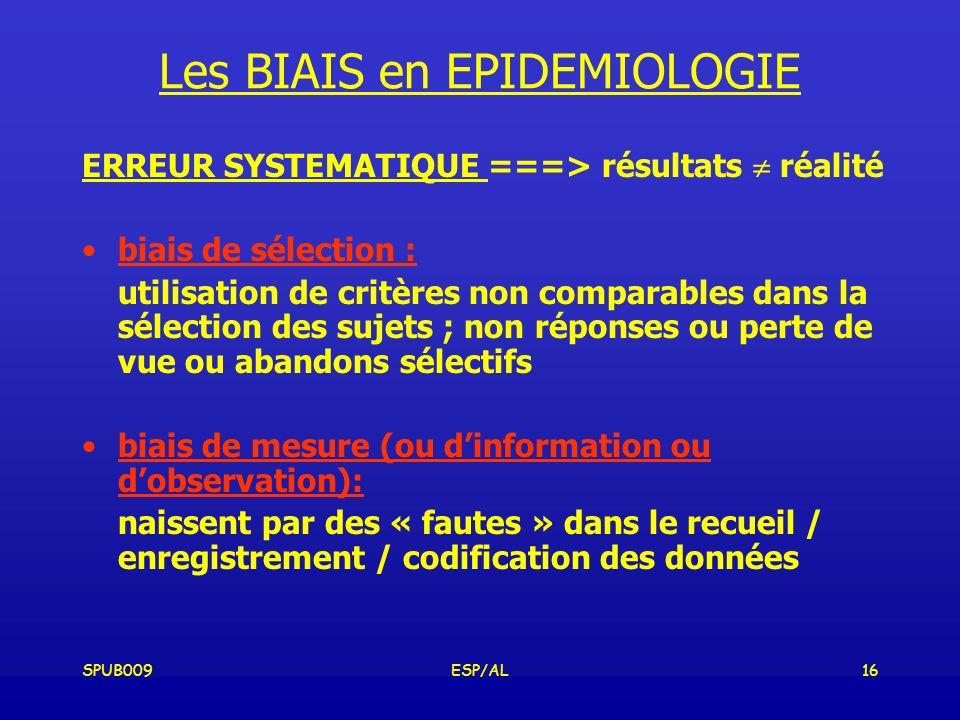 Les BIAIS en EPIDEMIOLOGIE