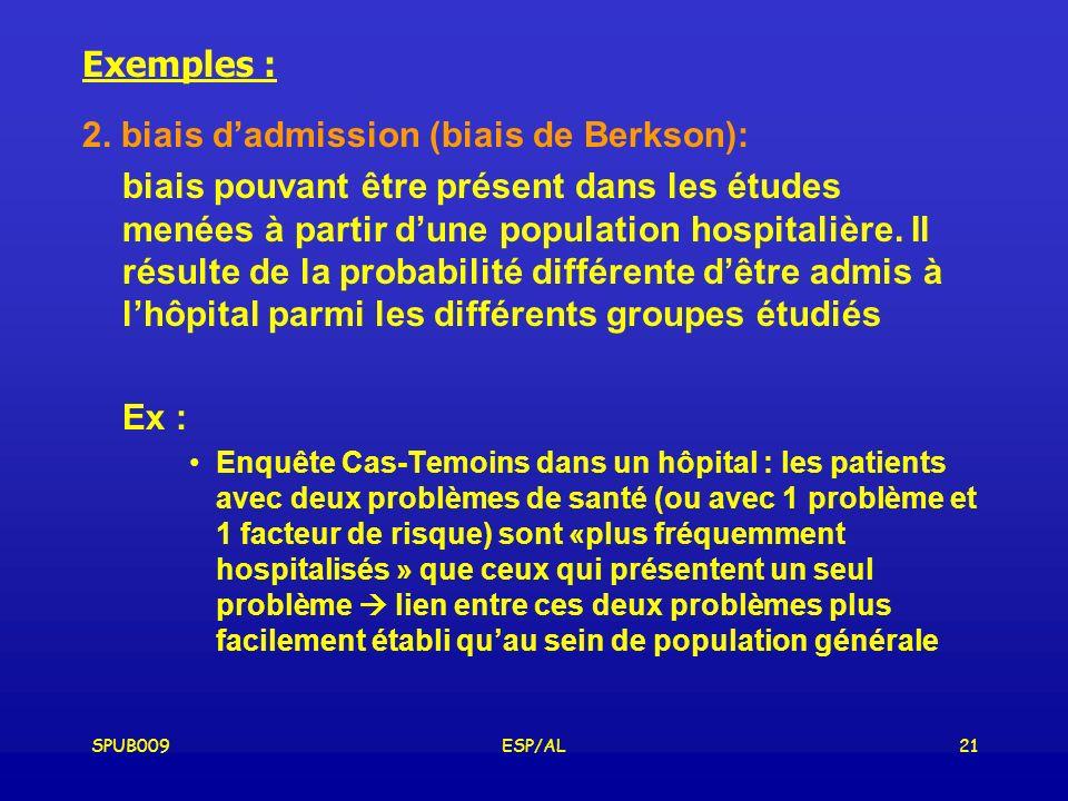 2. biais d'admission (biais de Berkson):