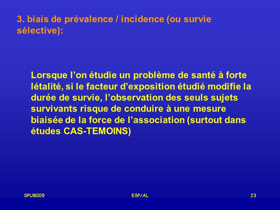 3. biais de prévalence / incidence (ou survie sélective):