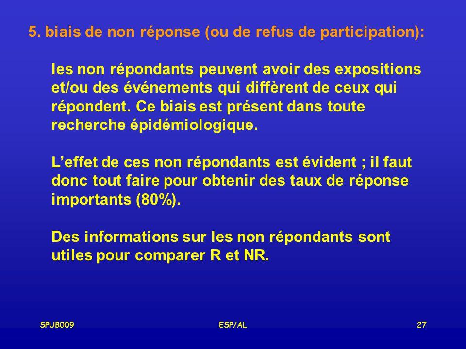5. biais de non réponse (ou de refus de participation):