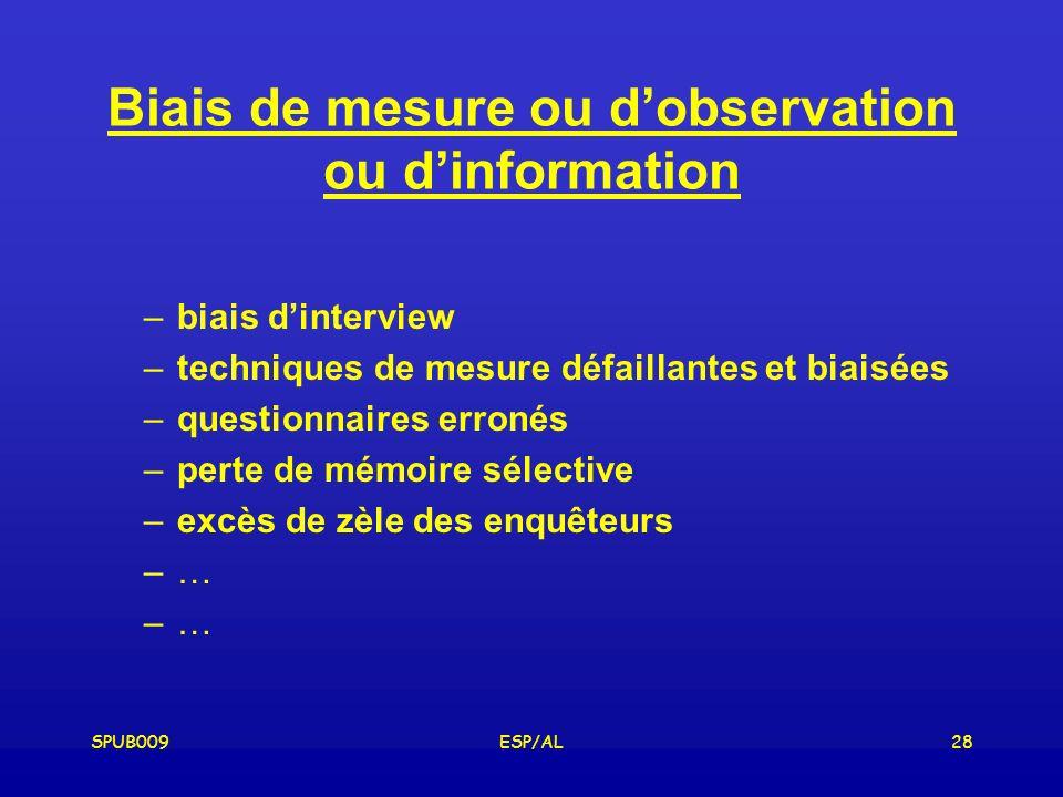 Biais de mesure ou d'observation ou d'information