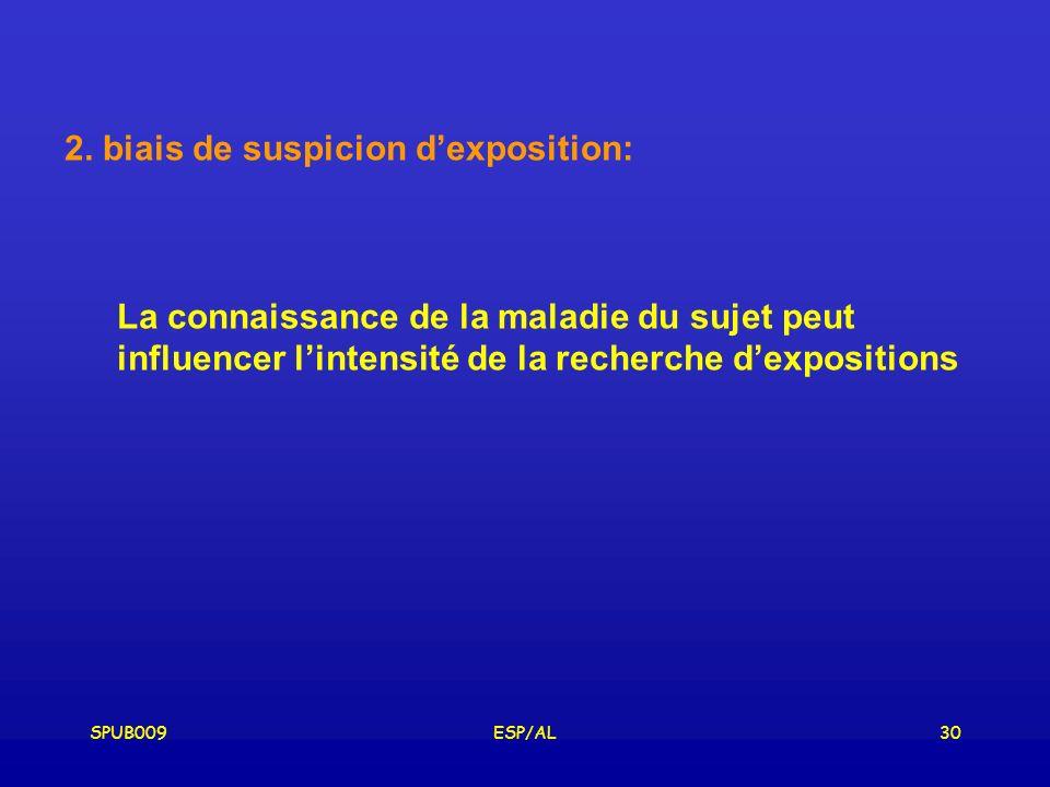 2. biais de suspicion d'exposition: