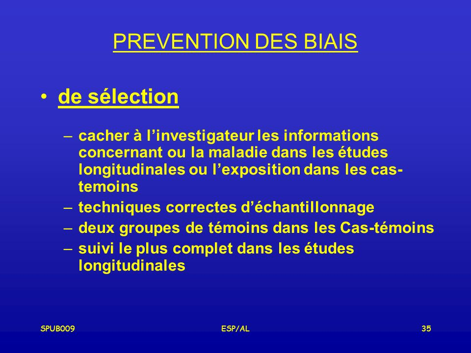 PREVENTION DES BIAIS de sélection