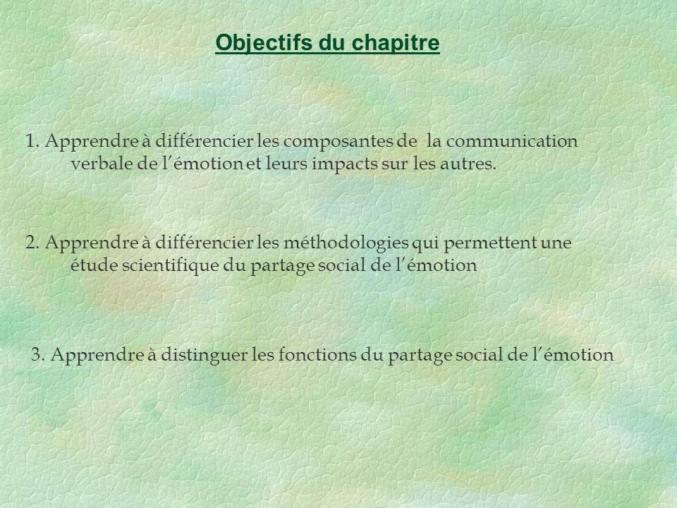 Objectifs du chapitre 1. Apprendre à différencier les composantes de la communication verbale de l'émotion et leurs impacts sur les autres.