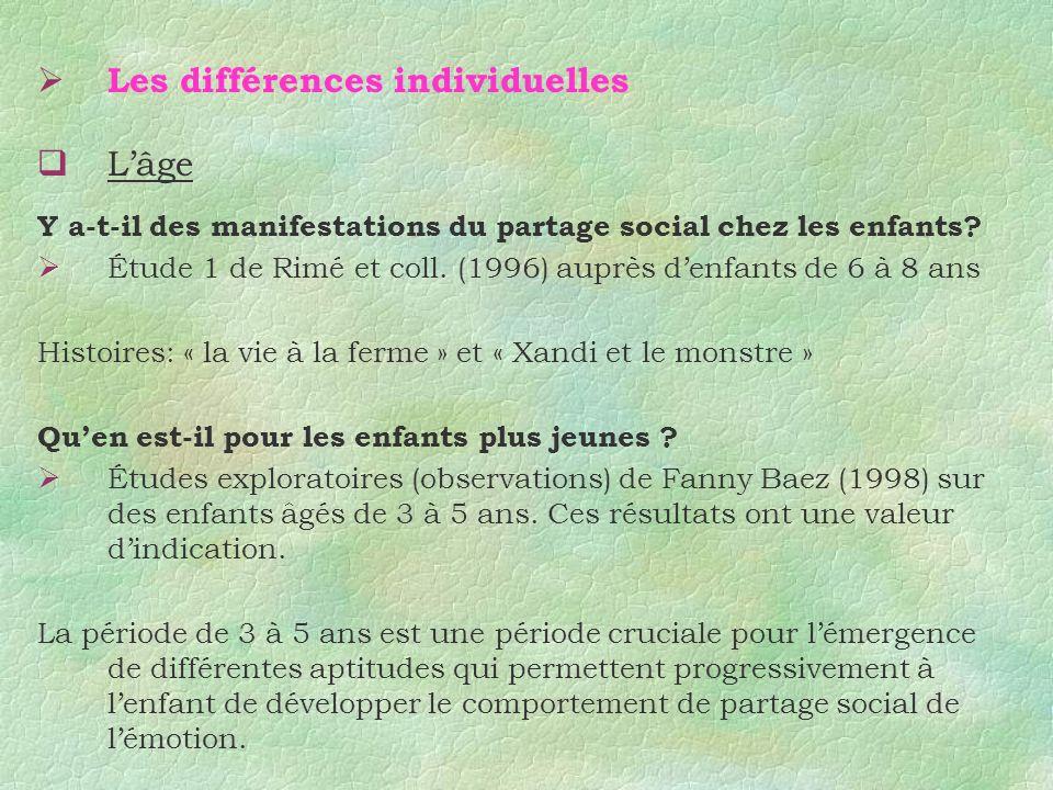 Les différences individuelles L'âge