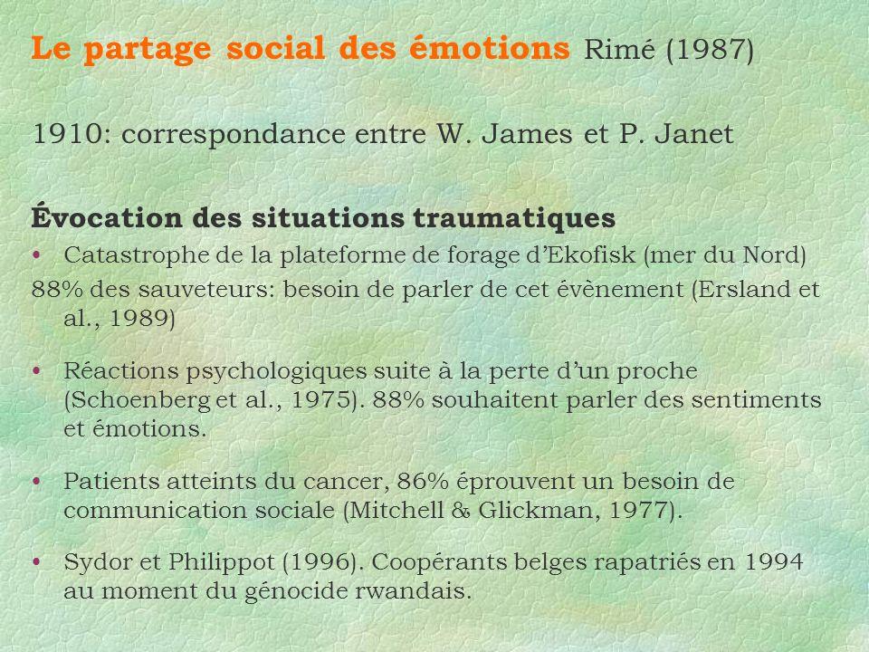 Le partage social des émotions Rimé (1987)