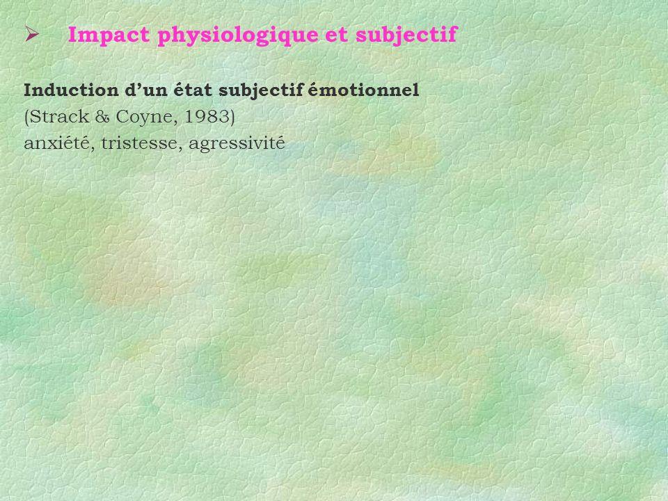 Impact physiologique et subjectif