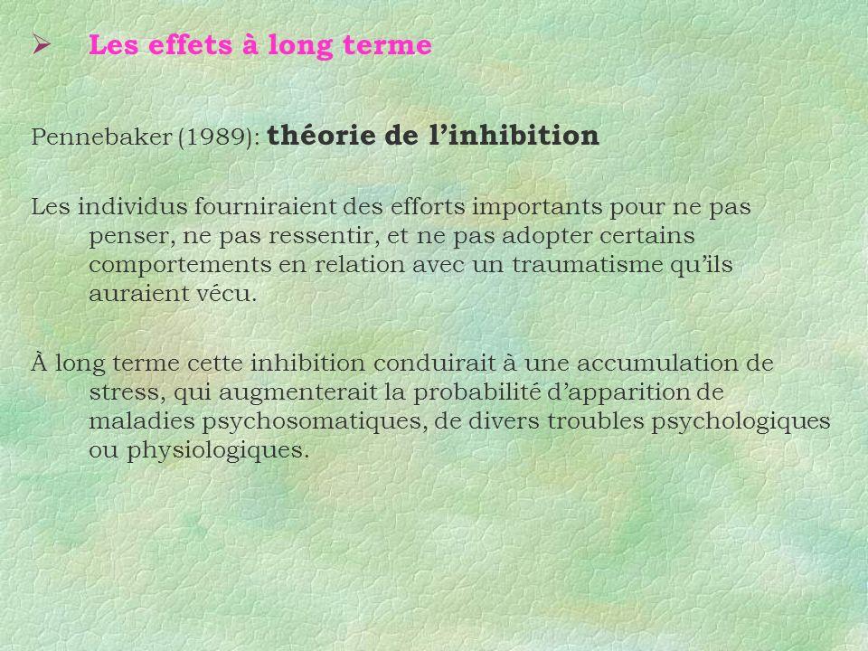 Les effets à long terme Pennebaker (1989): théorie de l'inhibition