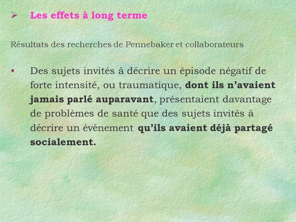 Les effets à long terme Résultats des recherches de Pennebaker et collaborateurs.