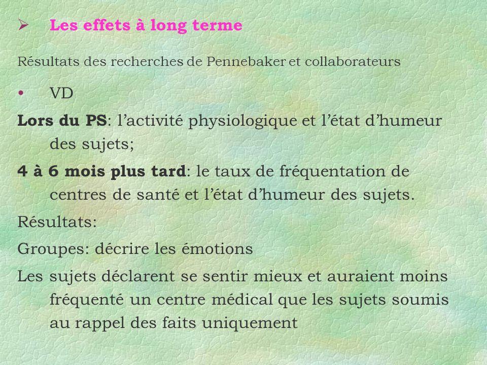 Lors du PS: l'activité physiologique et l'état d'humeur des sujets;