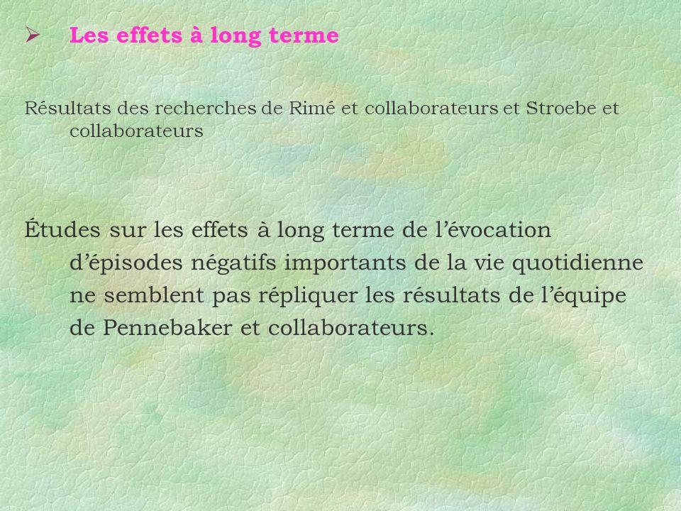 Les effets à long terme Résultats des recherches de Rimé et collaborateurs et Stroebe et collaborateurs.