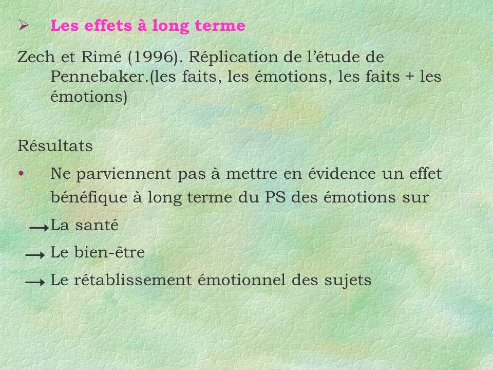 Les effets à long terme Zech et Rimé (1996). Réplication de l'étude de Pennebaker.(les faits, les émotions, les faits + les émotions)