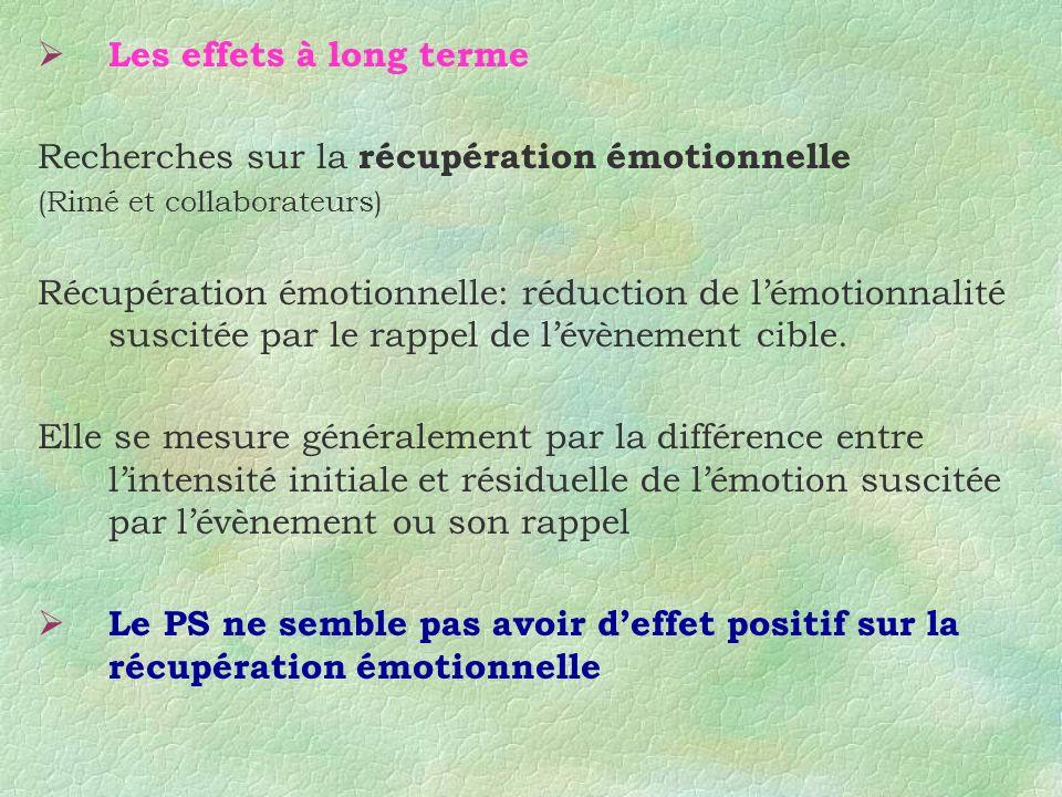 Recherches sur la récupération émotionnelle