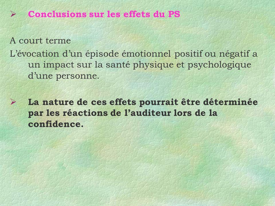 Conclusions sur les effets du PS
