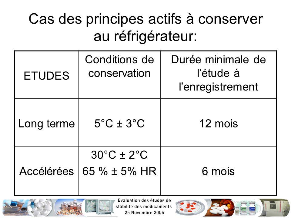 Cas des principes actifs à conserver au réfrigérateur: