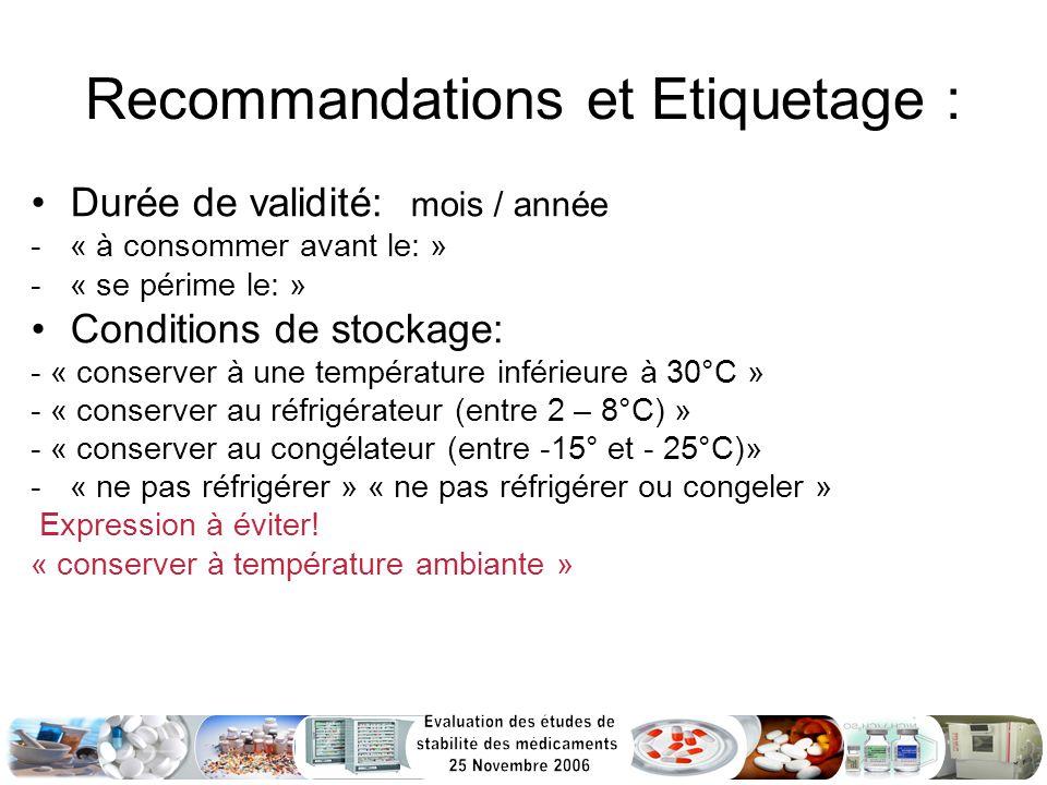 Recommandations et Etiquetage :