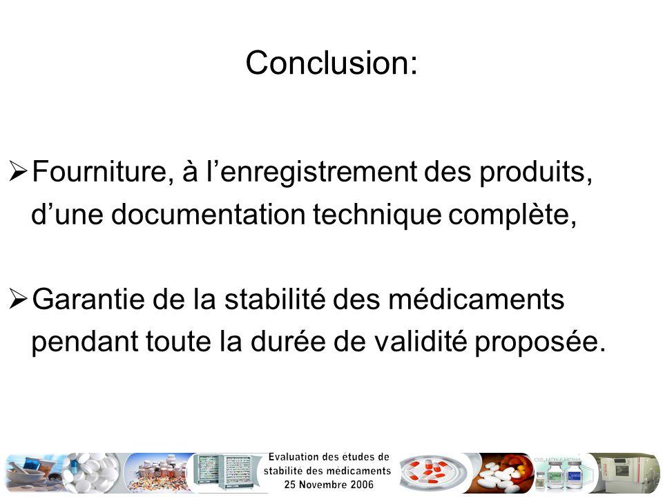 Conclusion: Fourniture, à l'enregistrement des produits,