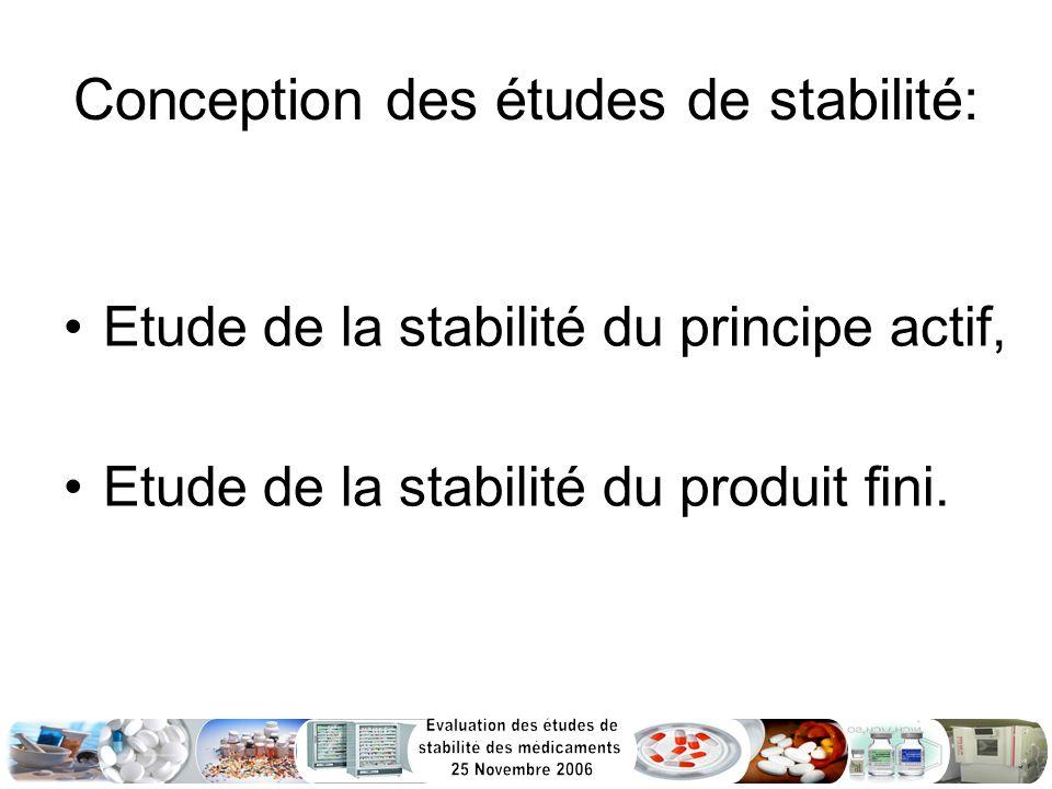 Conception des études de stabilité:
