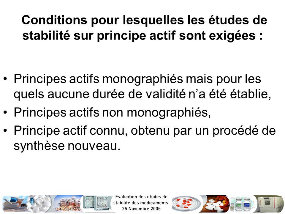 Conditions pour lesquelles les études de stabilité sur principe actif sont exigées :