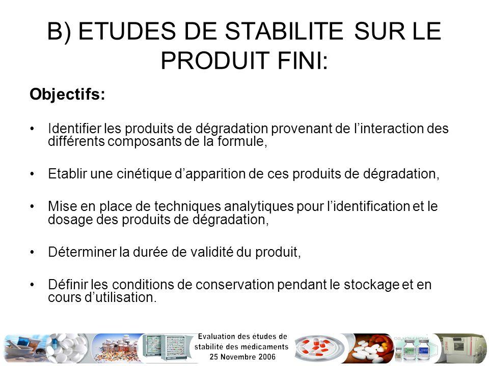 B) ETUDES DE STABILITE SUR LE PRODUIT FINI: