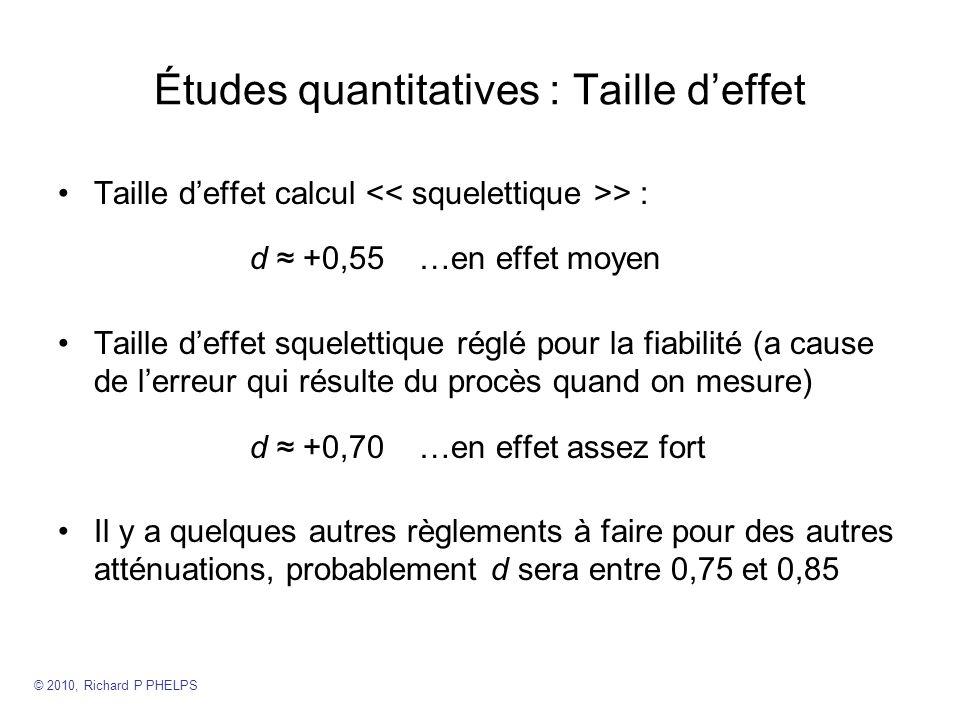 Études quantitatives : Taille d'effet