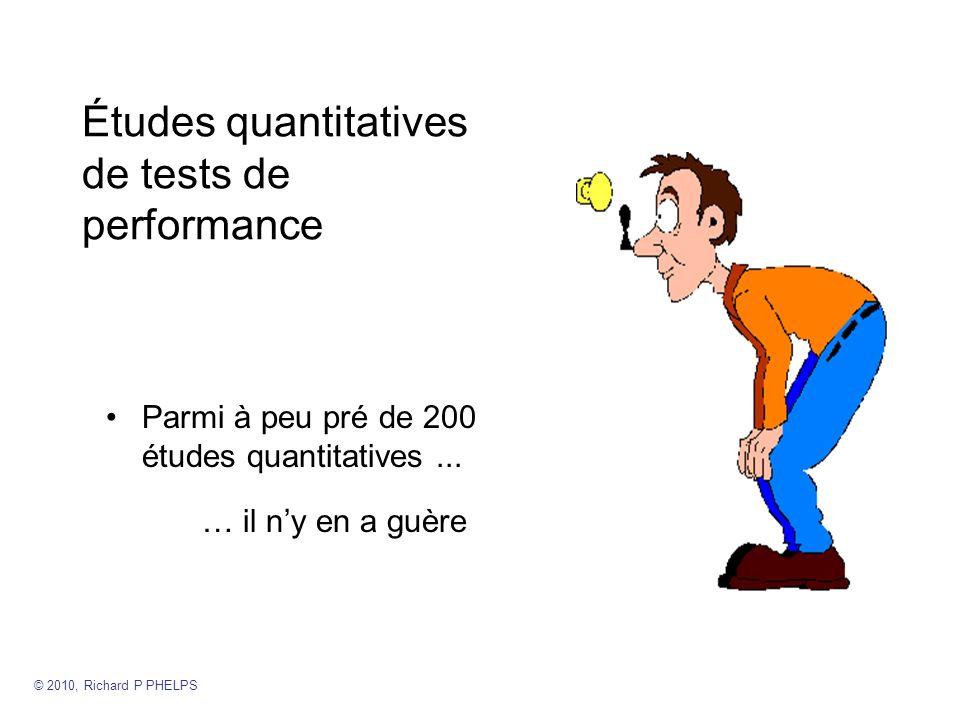 Études quantitatives de tests de performance